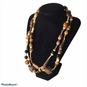 Wooden/glass bead necklace